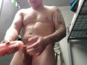 Masturbating using a fleshlight with a huge cumshot
