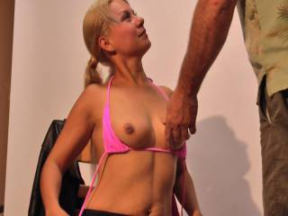 Got her to strip for photos, played with her nice soft tits before I got her to blow me.