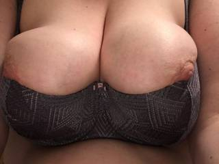 This shelf bra is a 38 E cup, it's the third such bra I've gotten for my sexy wife. I love seeing her wearing them in public.