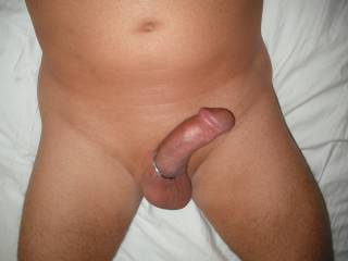My flaccid dick slowly hardening, lengthening and filling out. Wearing my favourite cock ring.