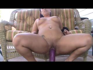 Amateur Video - Having fun outdoors riding my huge purple dildo!! Fucked it hard and has suprise endig!!! Love the stretching...u like? ;)